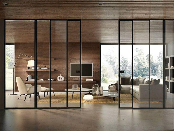 Glass sliding door BISYSTEM Design Series by GAROFOLI