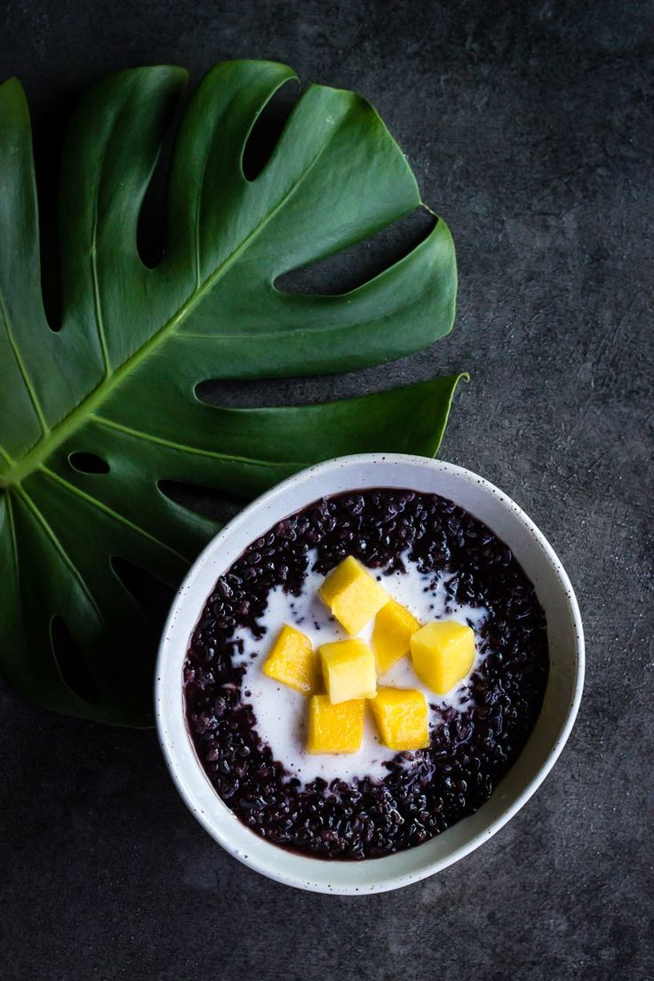 BLACK RICE WITH MANGO and COCONUT CREAM | WITH PANDAN PALM SUGAR SYRUP