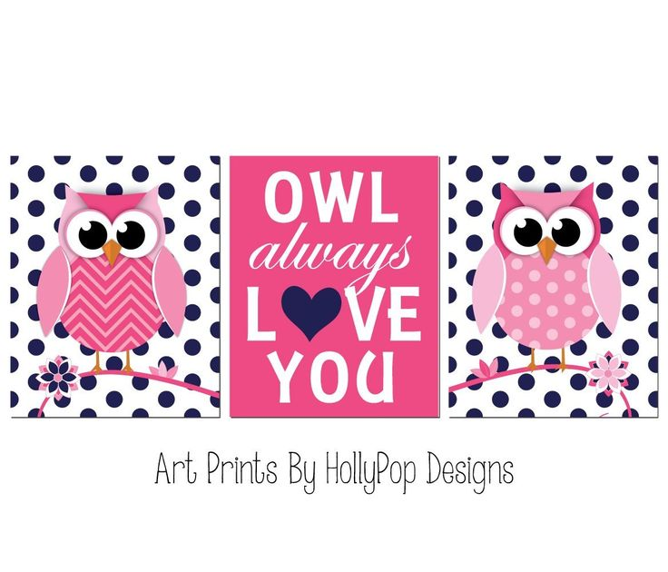 """Girl nursery art - Navy pink nursery art print set - Pink owl decor for girls room - Owl always love you - Modern girl nursery decor - SET OF 3 UNFRAMED ART PRINTS #1221. Girl nursery art - Navy pink nursery art print set - Pink owl decor for girls room - Owl always love you - Modern girl nursery decor 3 UNFRAMED Art prints printed on a professional grade photo paper. P>Colors can be changed! Just select """"custom colors"""" before you add the item to your cart. A proof will be provided and..."""