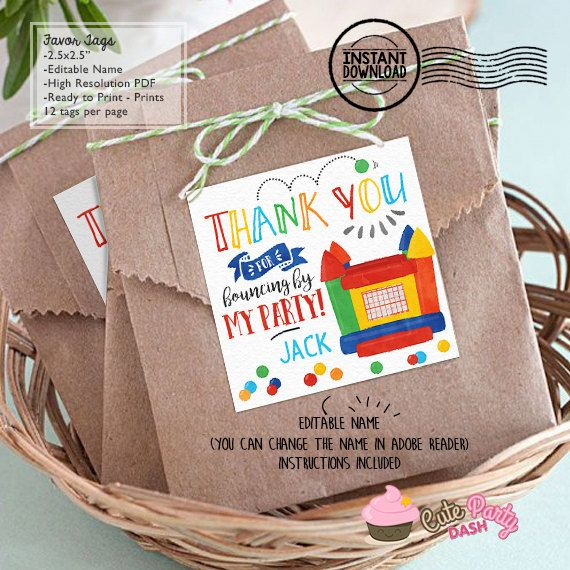 INSTANT DOWNLOAD  EDITABLE Bounce House Favor Tag by CutePartyDash