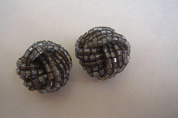 Earrings Metallic Pewter Beaded Turban Knot Crystal Seed