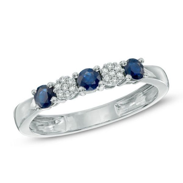 Blue Sapphire And Diamond Accent Three Stone Ring In 10k White Gold In 2020 Fashion Rings White Diamond Ring White Gold Rings