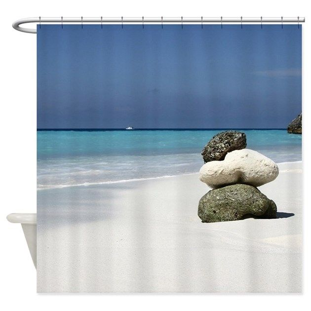 white sand, sea, life, stones, beach, ocean - shower curtain