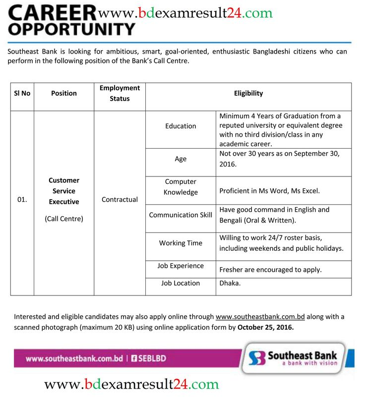 Southeast Bank Customer Care Job Circular 2016