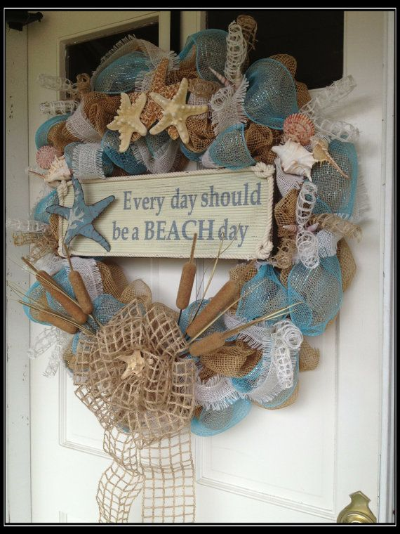 Seashell Deco Mesh and Burlap Wreath Everyday by JustHangingRound