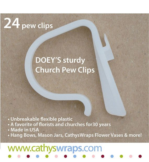 Doey's HEAVY DUTY pew clips hold 5 lb. floral arrangements, mason jars, tulle, bows CathysWraps vases and pew cones. Stretch the flexible handle over the ends of church pews, tables, fences, chairs, doors, or railings. Post-ceremony, reuse pew decorations as reception decor and the clips as picnic table cloth clips for years to come. https://www.etsy.com/listing/76051539/church-pew-clips-heavy-duty-wedding-pew?ref=shop_home_active_1