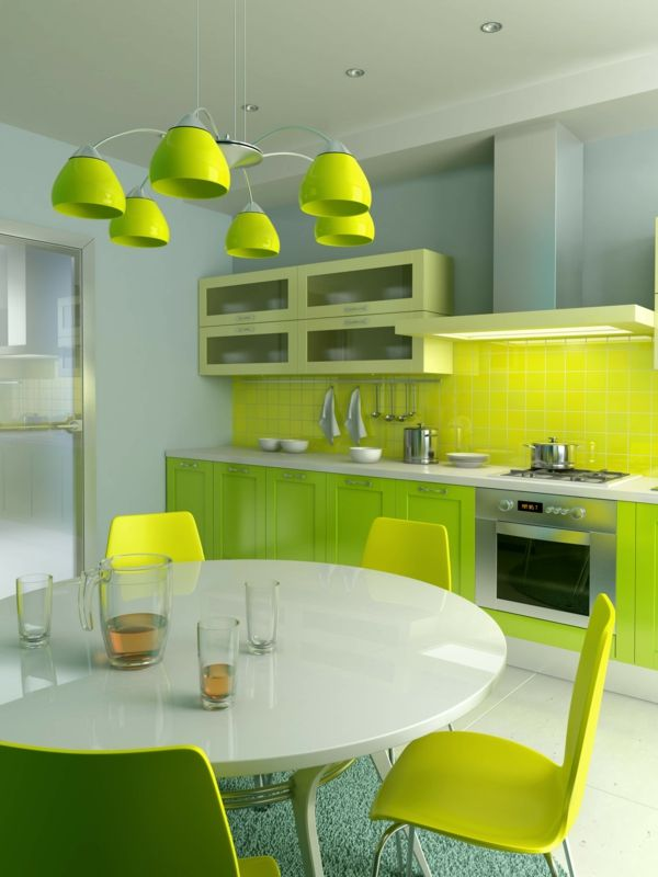 Wandgestaltung für die Küche - Einrichtungslösungen nach jedem Geschmack  - Wandgestaltung für die Küche grün hell dunkel