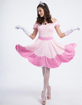 Damen Damenmode Super Mario Peach Toadstool Rosa Prinzessin Kostüm Kleid Xmas