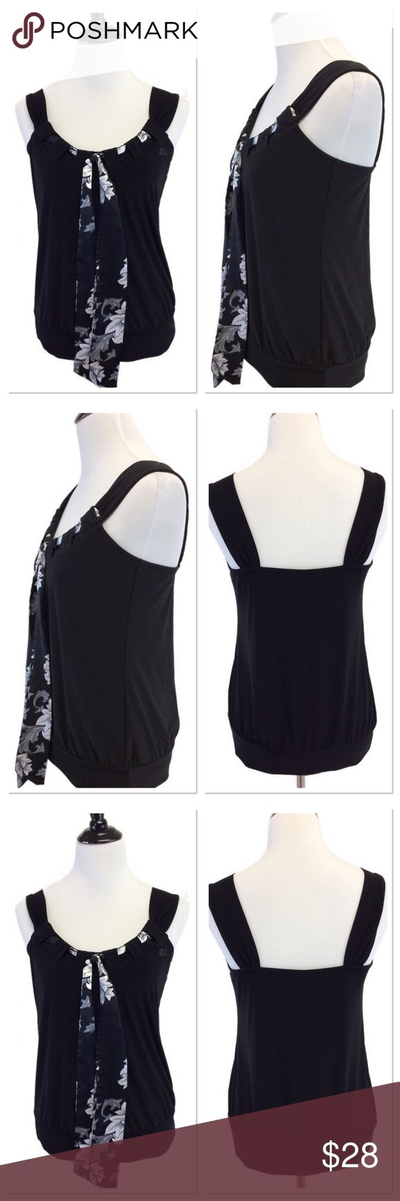 """M WHBM black tank with scarf neck Brand: White House Black Market  Style: tank Size: medium  Approximate Measurements: pit to pit 15.5"""" shoulder to hem 24.75"""" Material: 92% polyester 8% spandex  Features: silky tie neck, looks black n white but turn it over for a pop of color Condition: excellent condition . White House Black Market Tops Tank Tops"""