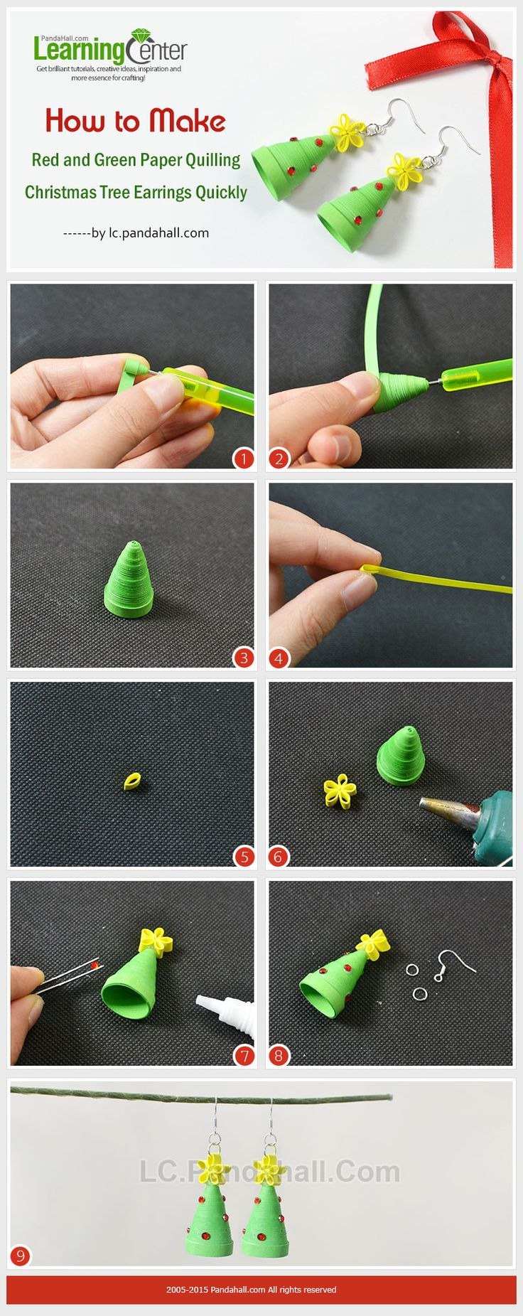 How-to-Make-Red-and-Green-Paper-Quilling-Christmas-Tree-Earrings-Quickly