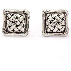Предварительно принадлежащие Джон Харди стерлингового серебра 925 Квадратный Бамбуковые серьги стержня