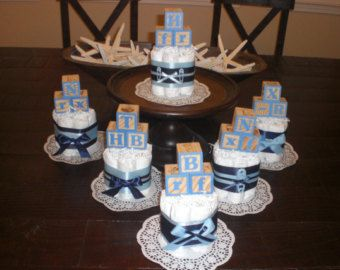 Baby Block Baby Shower Centerpiece Diaper by bearbottomdiapercakes