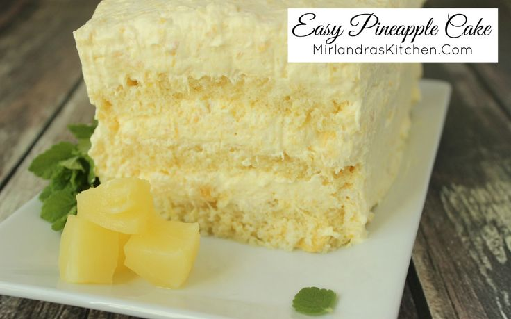 Thick layers of pound cake or angle food cake are filled with rich pineapple cream for this easy pineapple cake. Only five ingredients and ten minutes!