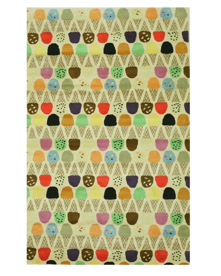 Hand-tufted Wool Ivory Transitional Kid's Kid's Ice Cream Cone Rug