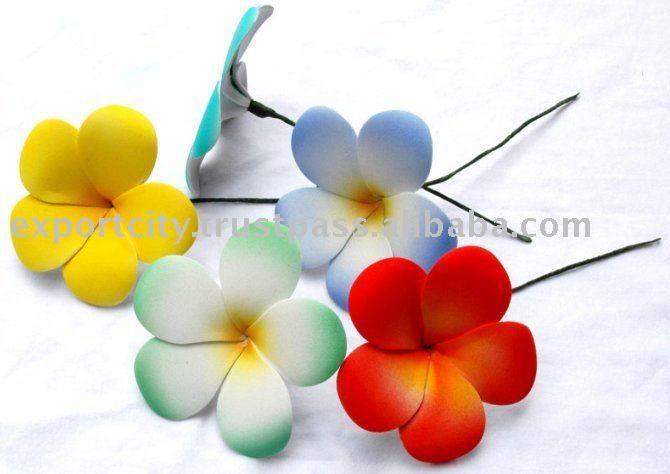 Foam flower eva flower plumeria frangipani ear piece hair pick