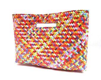 carpeta mexicana tejida, bolsa de fibra (chica)