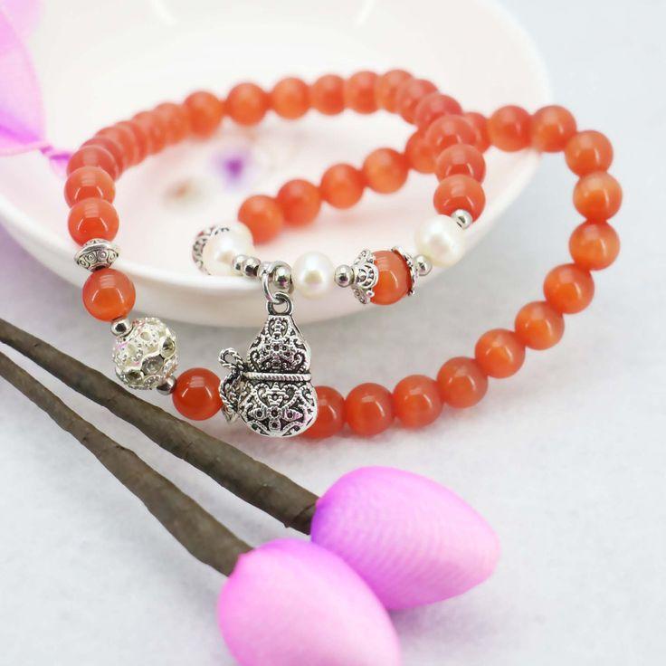 8mm Red Cat`s Eye Bracelet Pearl Bracelet Silver Gourd Pendant Female Bracelet For Women Gift For Girl Fashion Jewelry Making
