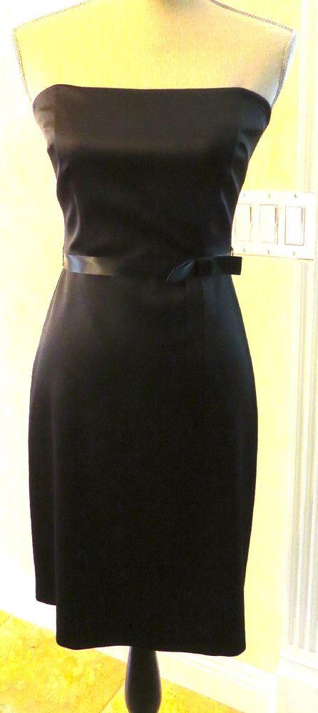 Laundry by Shelli Segal Black Strapless Dress with Ribbon Sash - Size 2