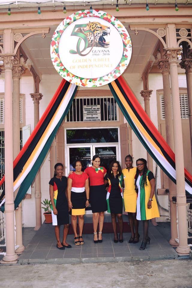 Jubliee Guyana flag dress