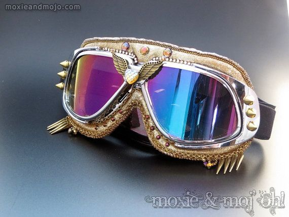 Goggles: Heart of Gold by MoxieandMojoFashion on Etsy  Must have these for burning man!!