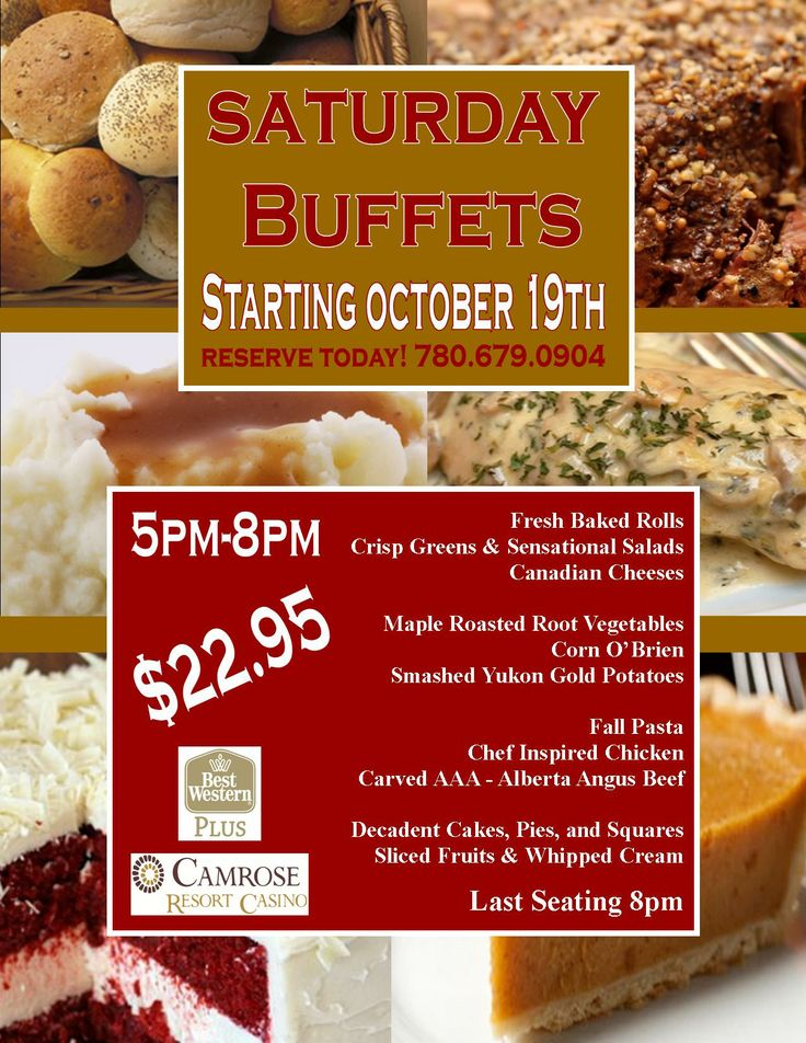 Fall buffets every Saturday night
