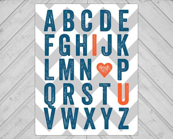 Baby Boys I Love You Alphabet Wall Art, Navy Blue, Orange and Gray Nursery Decor, Little Boys Room Art, Instant Download, Printable on Etsy, $10.00