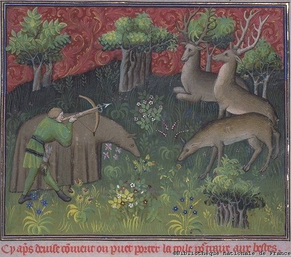 Hunting - from Gaston Phoebus' Book of Hunting Circa 1400 awesome deer disguise