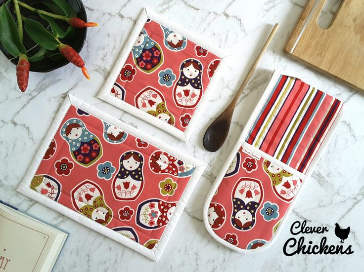 Potholder, Oven Mitt, Oven Glove and Hot Pad, Babushka Doll / Matryoshka Doll / Nesting Doll - Kitchen Set, Cooking Gift Set, Gift under 50 by CleverChickens on Etsy