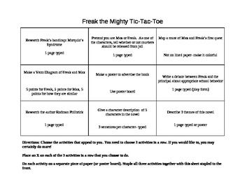best reading freak the mighty images ccss ela  freak the mighty tic tac toe activity board