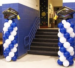 Graduation Columns    Graduation Balloons, graduation party, balloon columns, Celebration Creations