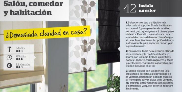 """Más 🛠#Guía de #Bricolaje🛠 100 sencillas ideas para mejorar tu #hogar  Nº42 """"Instala un estor"""" #DIY  👉📲"""