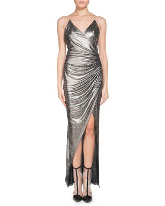 Sleeveless+V-Neck+Chain-Strap+Strass+Wrap+Evening+Gown+by+Balmain+at+Neiman+Marcus.