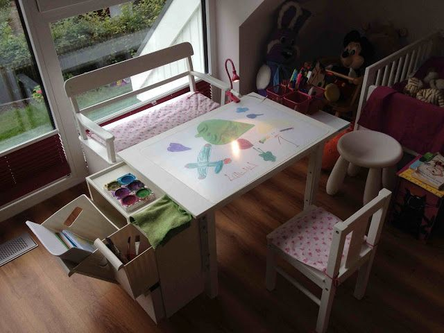 Materials: Sundvik, Retur, Ekby Tony, Dokument, Ekby RisetDescription: For our 4 year old we needed as desk for her paintings with space for her pens, papers et