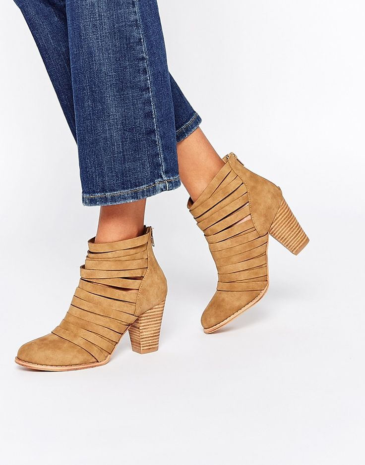 Glamorous Tan Strapped Heeled Boots