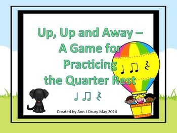 This balloon themed fly-swatting listening activity is for practicing the rhythmic concept of a quarter rest (ta rest). Other rhythms include the quarter note (ta) and paired eighth notes (ti-ti). The first set of 16 slides have one rhythmic pattern per slide for you to prepare your students before playing the game. The next set of 12 slides each have two rhythmic patterns per page. The third set of 6 slides each have four of rhythmic patterns per page.