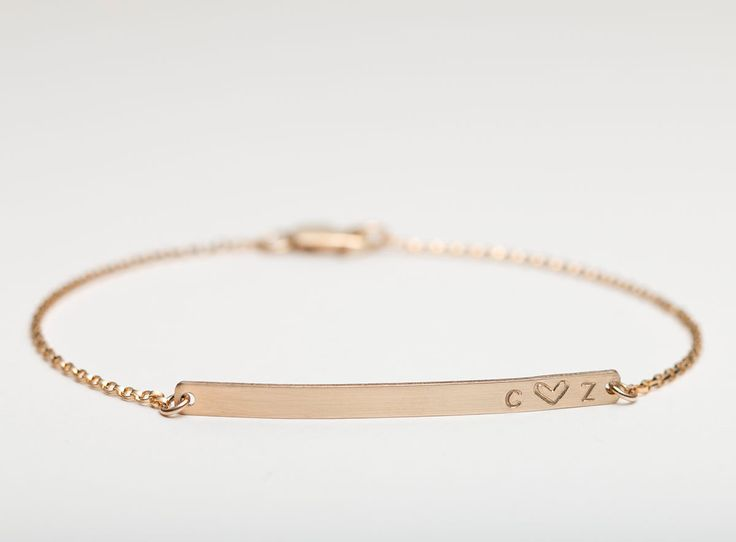 Customized Name Bracelet / Personalized Gold Bracelet / Initial Bracelet - Skinny Bar Bracelet by Layered and Long / LB130_40_B by LayeredAndLong on Etsy https://www.etsy.com/listing/197693207/customized-name-bracelet-personalized