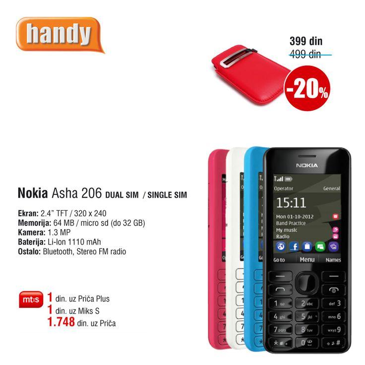 Nokia Asha 206 Dual SIM, Već za 1 din. uz Mt:s ugovor. http://www.handy.rs/sr/p/nokia/asha-206-dual-sim