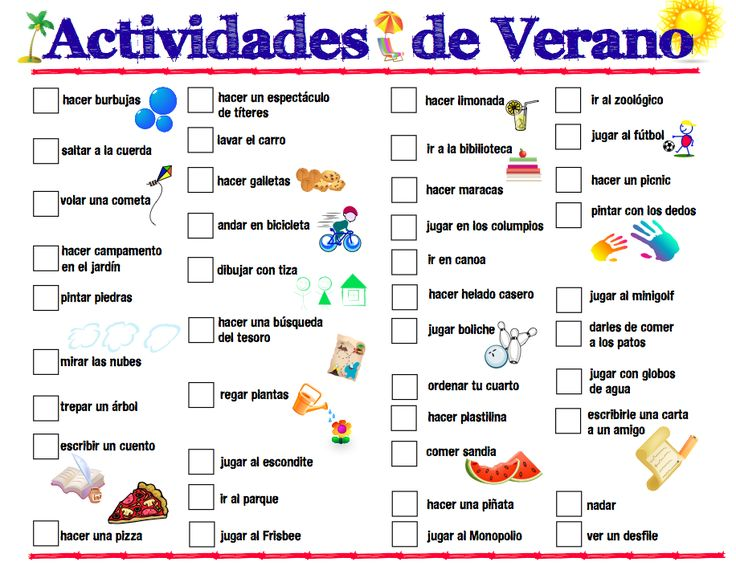 Actividades de Verano - a free printable list of summer activities in Spanish. This is a fun addition to a print-rich environment for kids learning Spanish.
