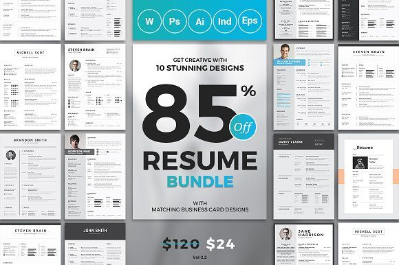 Top 10 Resume/CV Bundle - $120 worth of resumes for just $24 - RIGHT NOW!  Total 10 Resume+Cover Letter and Matching Business Card Templates  The best resumes at best price is here, you will get all types of resume templates in four different formats Microsoft word, Photoshop, Illustrator and InDesign. All artwork and text are FULLY CUSTOMIZABLE  @creativework247