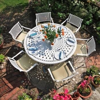 White FRANCES 6 Seater 150cm Round Cast Aluminium Garden Furniture Set