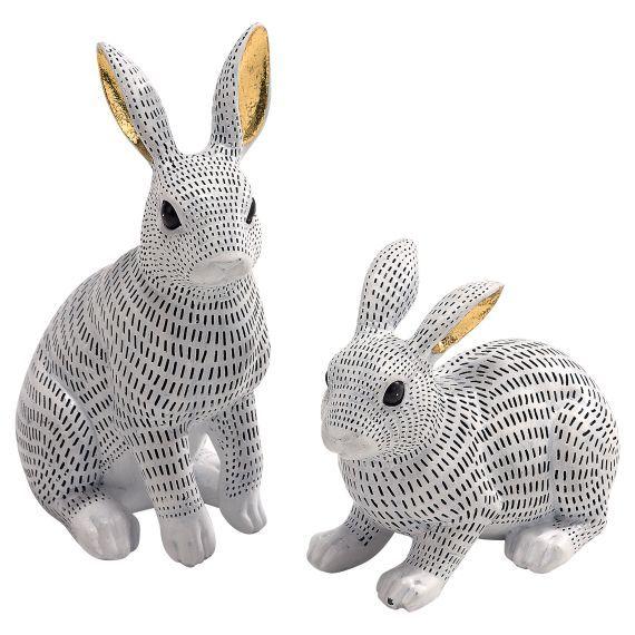 Dekofiguren-Set, 2-tlg. Snow Bunny Vorderansicht
