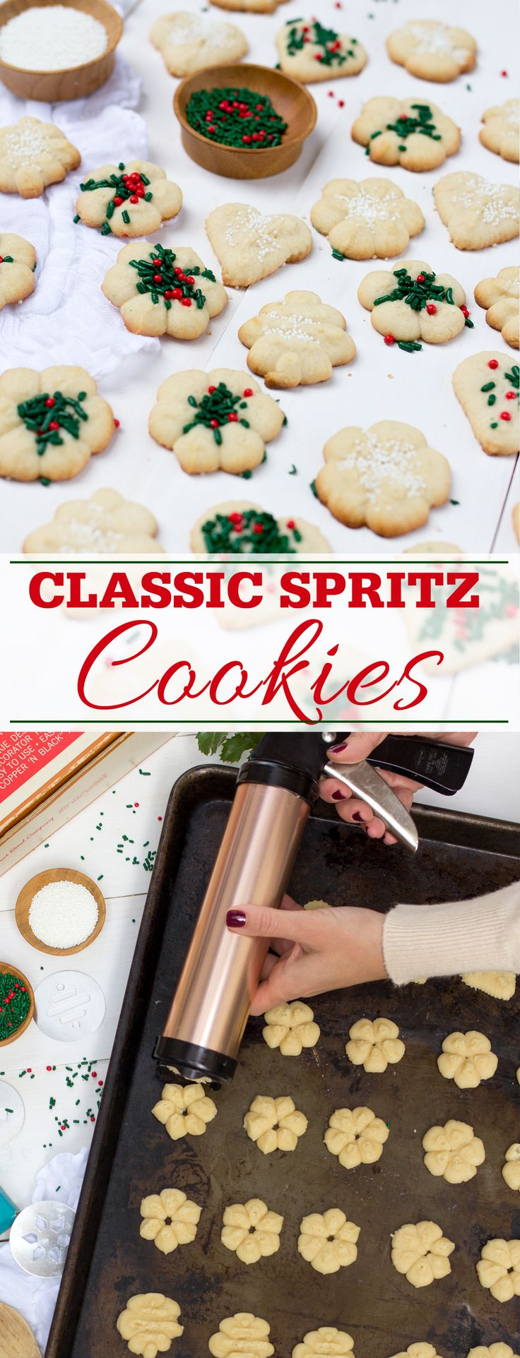 Classic spritz cookie recipe that is buttery rich and pressed into a variety of designs using a spritz cookie press.