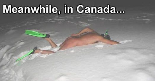 The Michael Phelps of the North.  He must have ice in his... never mind.: Giggle, Canada, Funny Shit, Snow, Funny Stuff, Humor, Things