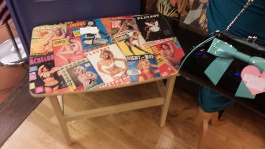 Vintage playboy themed coffee table!      www.facebook.com / beetreecrafts