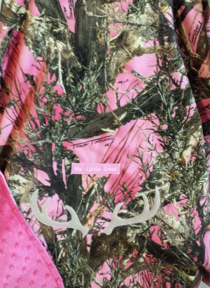 """Car Seat Blankets Pink Camo Baby! True Timber Faux Suede n Pink Minky Lining Hand Made Custom Embroidery """"My Little Dear"""" Infant Carrier by mamasgotmecovered on Etsy"""