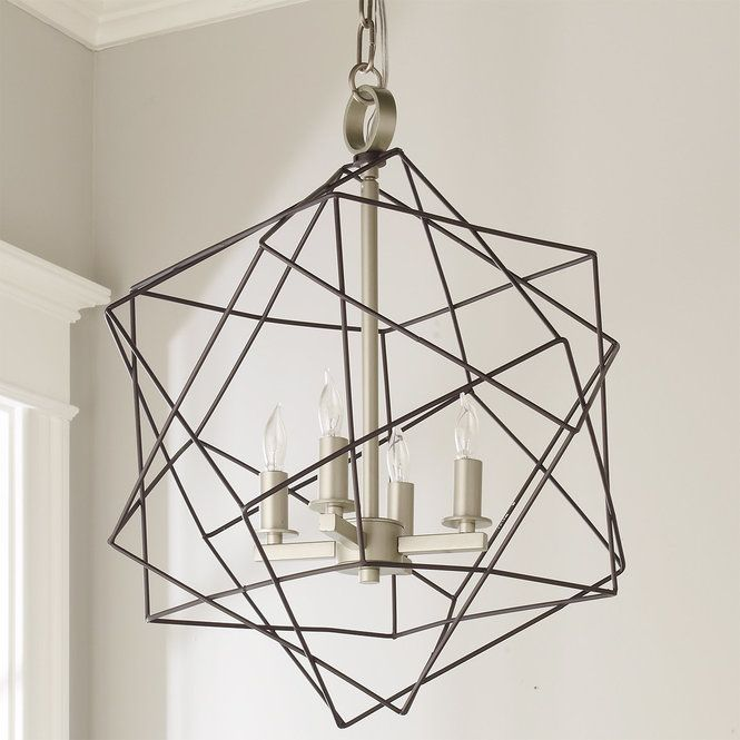 Structural Cubic Cage Lantern Semi Flush Ceiling Lights Chandelier Modern Chandelier