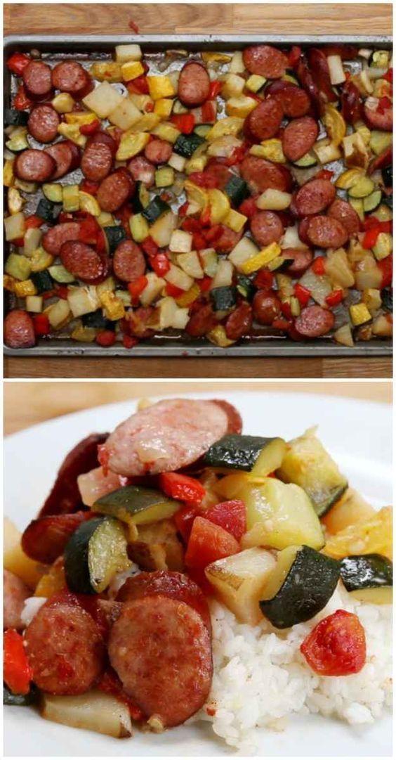 One-Pan Sausage and Veggies - 3 kielbasas. 1 zucchini. 1 squash. 4 potatoes. Makes enough for 2 nights. Make with jasmine garlic rice
