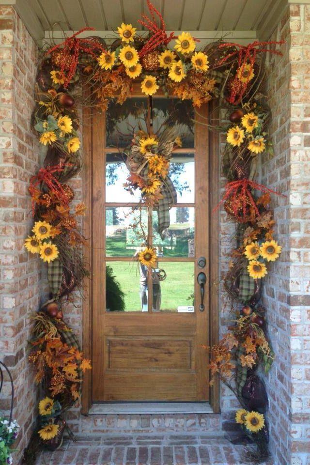 Fall Doorway designed by Flowers & Home of Bryant.  www.flowersandhome.com