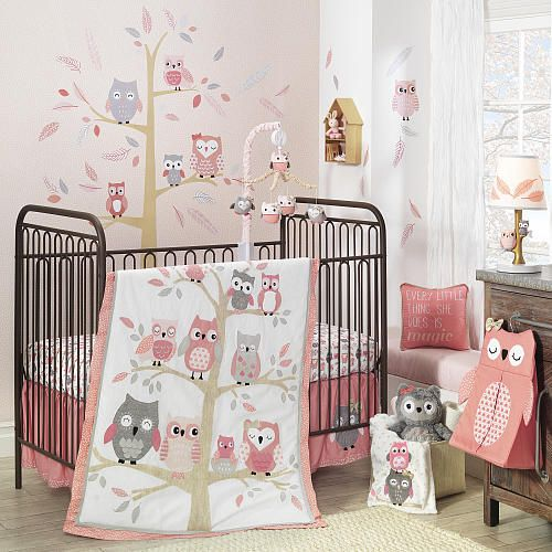 Lambs & Ivy® Family Tree Coral/Gray/Gold Owl 4 Piece Crib Bedding Set