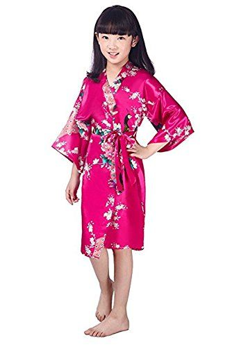 REWANGOING Little Kids Girls Satin Peacock Wrap Sleepwear Nightgow Kimono  Robe Junior Child Bathrobe 788a191b4